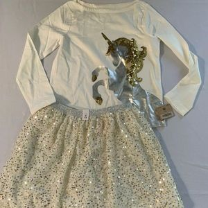 NWT Crazy 8 Unicorn Top & Children's Place skirt